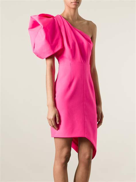 Naira Dress Pink St laurent one shoulder dress in pink lyst