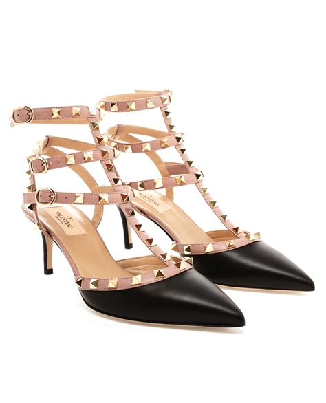 Valentino Studed valentino studded leather kitten heels in black lyst