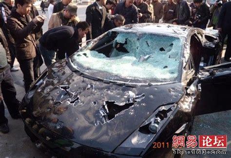 Lamborghini Destroyed Lamborghini Gallardo Destroyed In Protest Of Bad