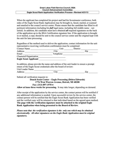 Top 10 Eagle Scout Forms And Templates Free To Download In