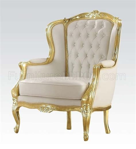 White And Gold Chair 59144 kassim accent chair in white pu by acme w gold tone