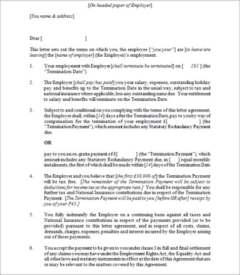 End Of Contract Letter To Employment Sle employment termination agreement template 28 images