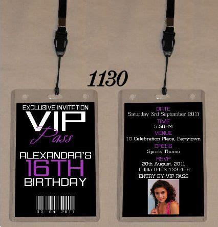 age birthday vip pass invitation lanyard double sided  sour  pinterest vip
