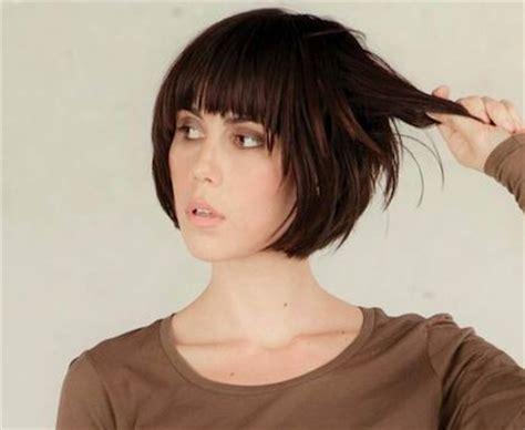 short and carefree with full bangs haircut for women short bob with bangs i think i m honda cut my hair like