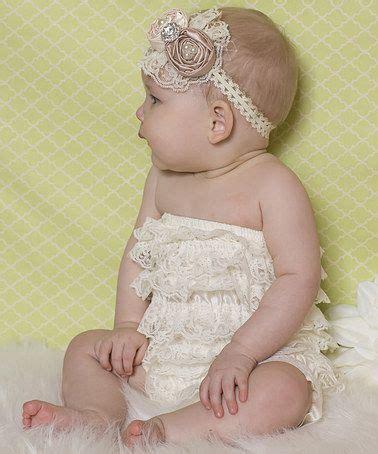 ella s bows zulily ella s bows ivory chagne lace romper headband