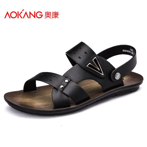 leather sandals for aokang 2015 new arrival daily casual summer sandals genuine leather sandals for flip