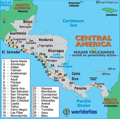 map of volcanoes in america central america capital cities map central america