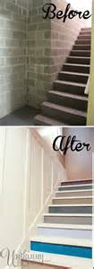 before and after of basement stairs painted unfinished