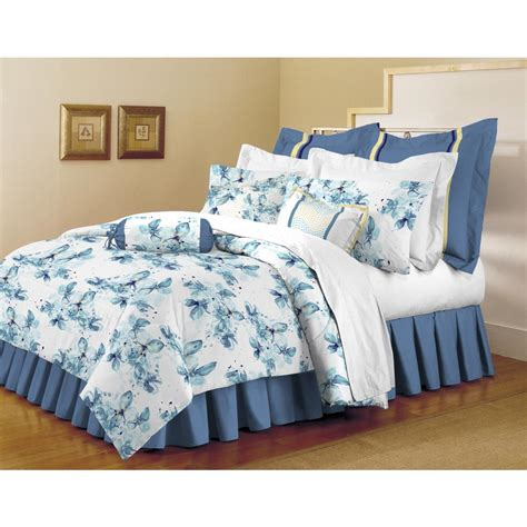 bedding set full home dynamix classic trends white light blue 5 piece full