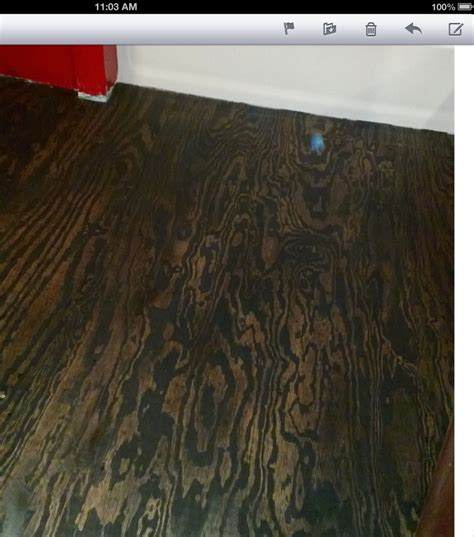 Stained Plywood Floor by Plywood Floor Stained I Did One Coat Of Black Stain I
