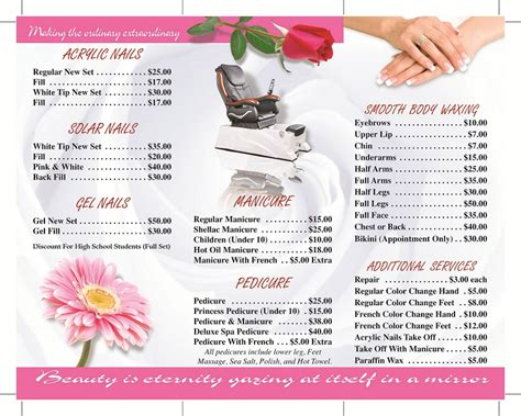 Perfection Nails Pedicure Menu Template