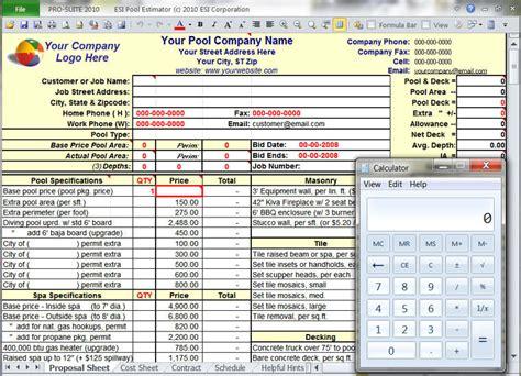 Pro Suite Pool Design Estimating Software Pool Estimate Template