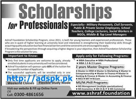 Mba Related In Government Sector by How To Apply Scholarship Program Of Ashraf Foundation For