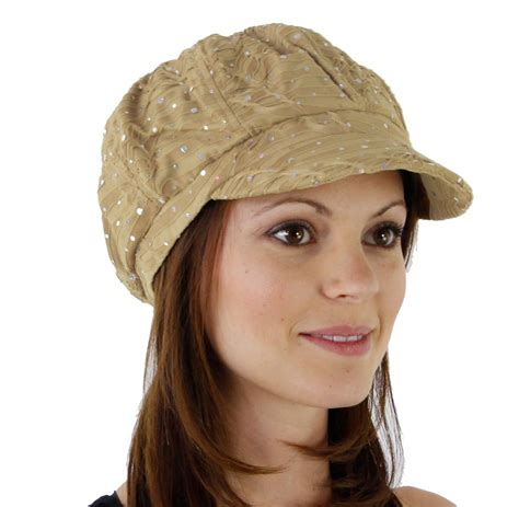 s glitter sequin trim newsboy style relaxed fit hat