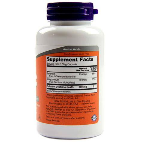 Now Nac N Acetyl Cysteine 600mg 250 Veg Capsules image gallery nac 600 mg