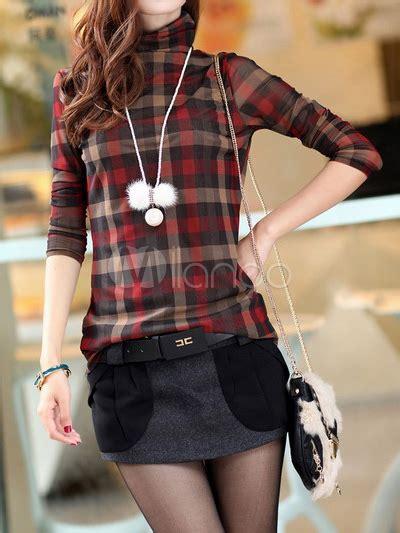 Atasan U063 Plaid Collar Sleeve charming green plaid pattern high collar s sleeve t shirt milanoo