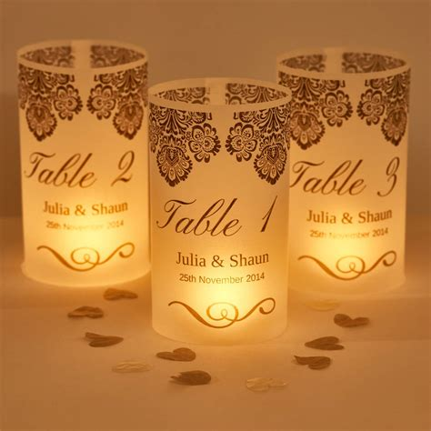 damask wedding table number luminaries by suzy q designs
