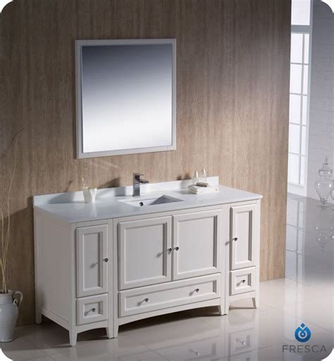 Bathroom Vanity With Side Cabinet Fresca Oxford 60 Quot Traditional Bathroom Vanity Antique White Finish Two Side Cabinets