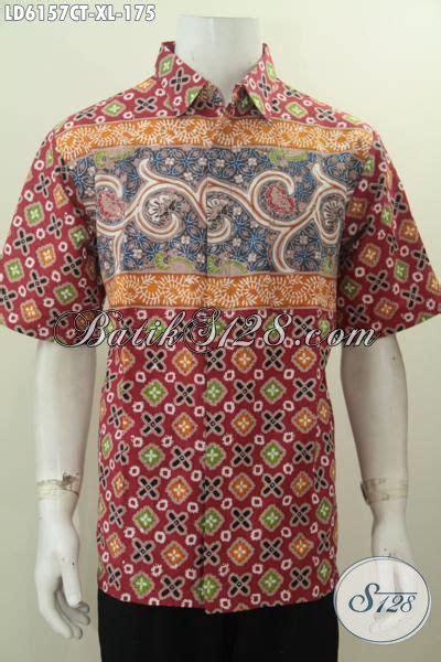 hem batik halus lengan pendek ukuran xl pakaian batik