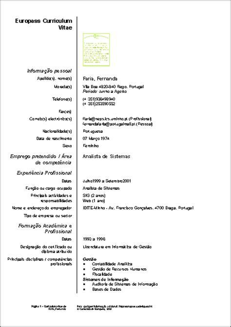 Modelo Curriculum Vitae Europeu Em Portugues Curriculum Vitae Modelos Em Portugues
