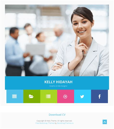 theme wordpress kelly kelly free bootstrap cv resume html template