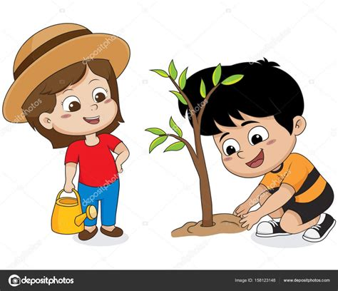 imagenes niños sembrando ni 241 os plantando un 225 rbol vector de stock 169 eempris