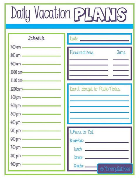 vacation itinerary template double sided trip planner