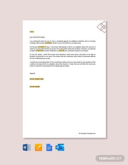 complaint letter landlord noisy neighbors