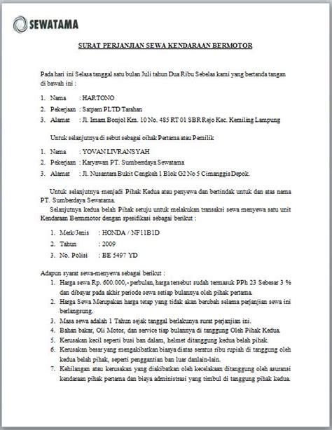 contoh surat perjanjian sewa menyewa rumah1 motorcycle review and