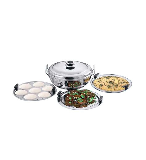 kitchen essentials induction idli steamer kadai royal 2 idli plates kitchen essentials induction steamer cooker kadai 2idli 2dhokla 1patraplate from rs
