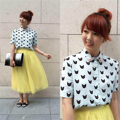 7 Charles Keith Kaitlyn 029 yan yan h m cat print blouse aforarcade yellow tulle