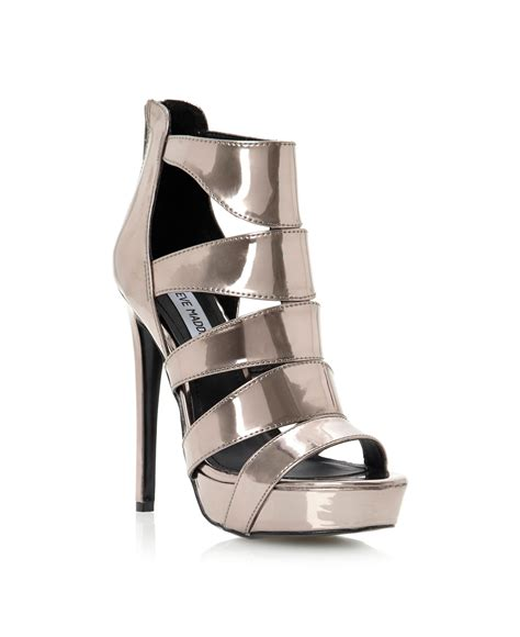 caged sandals heels steve madden spycee caged high heel sandals in silver