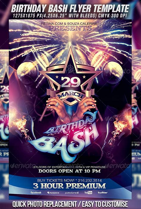 free birthday flyer templates birthday bash flyer template by mexelina graphicriver