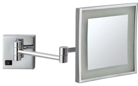 9 034 square led wall mount bathroom makeup mirror chrome square wall mounted led 3x makeup mirror contemporary