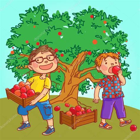 imagenes niños sembrando ni 241 os cosechando manzanas vector de stock 169 kimazo 69105865