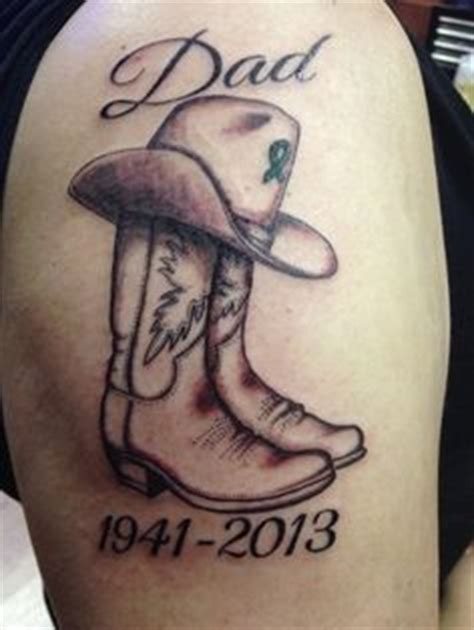 tattoo goo boots memorial tattoo dad cowboy boots and hat