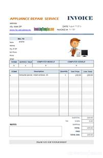 repair bill template auto repair invoice template