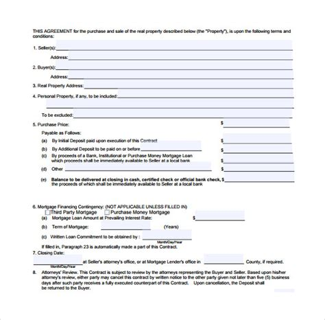 real estate contract templates 9 download free