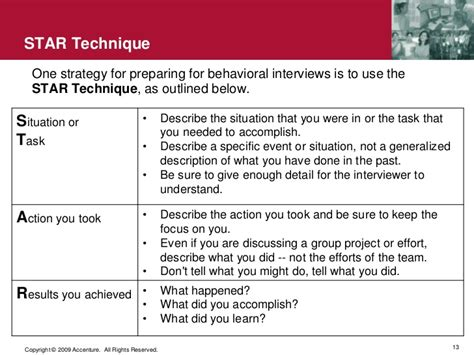 star interviewing response technique for success in behavioral job