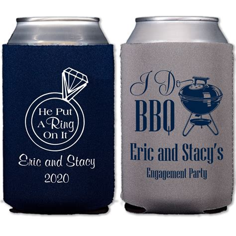 Neoprene Engagement Party Koozies Personalized   Set of 12