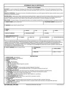 veterinary forms templates veterinary health certificate free