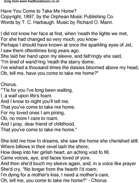 time song lyrics for 54 you come to take me home