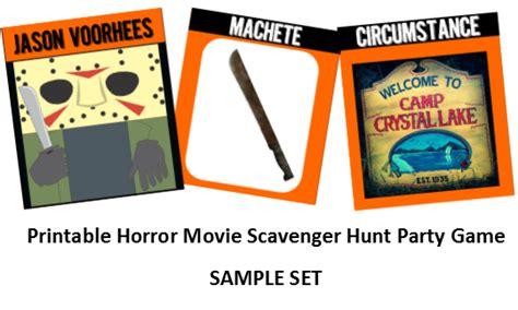 i hunt killers themes printable horror movie scavenger hunt murder mayhem