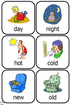 theme synonym in spanish opposites cards preschool fun set by fran lafferty tpt