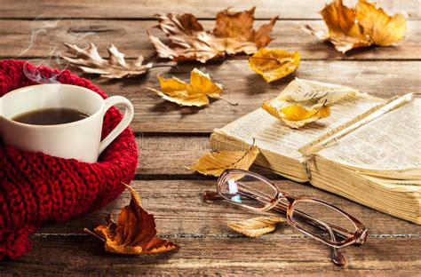 coffee autumn wallpaper hot coffee book glasses and autumn leaves on wood