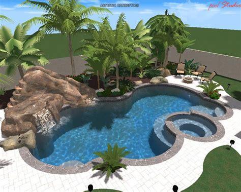 Backyard Pools With Rock Slides Swimming Pool W Rock Slide Pool Beautiful