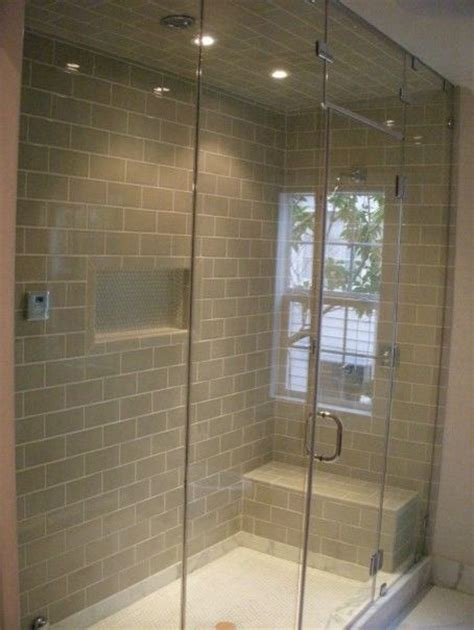 Showers With Seats And Glass Doors Single Niche In The Middle Glass Doors Tile On 3 Walls