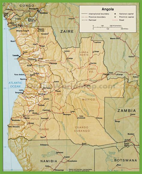 angola map road map of angola