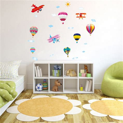 air balloon home decor air balloon planes cloud sky diy wall sticker home