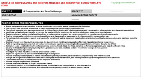 Benefits Manager Description by Hr Compensation And Benefits Manager Description Sle